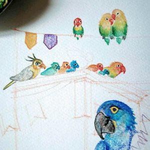 Faboola, tavole disegnate a mano: alcuni uccelli