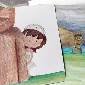 Faboola, tavole disegnate a mano: l'Isola di Pasqua